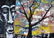 Steinfigur, Gargoyle, Baum, Malerei