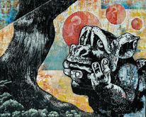 Baum, Gargoyle, Steinfigur, Malerei