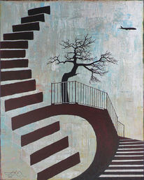 Flugzeug, Treppe, Baum, Malerei