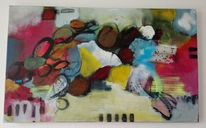 Komposition, Vertikal, Acrylmalerei, Informel