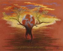 Feuer, Wasser, Pastellmalerei, Wandel