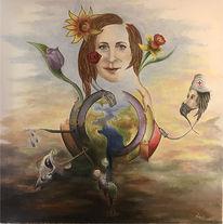 Welt, Frau, Ölmalerei, Krankenschwester