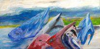 Blau, Fischland, Rot, Malerei