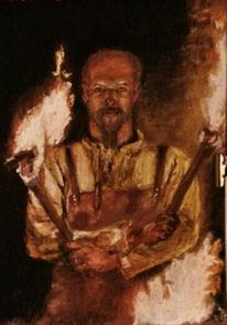 Portrait, Menschen, Feuer, Pastellmalerei