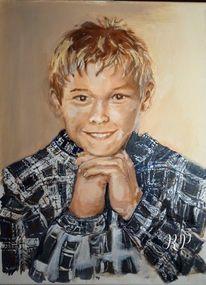 Ölmalerei, Lächeln, Portrait, Junge