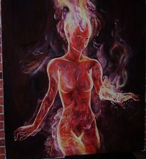 Lady in fire, Ölmalerei, Frau, Rot
