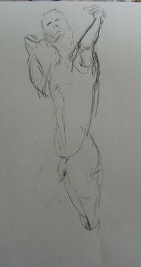 Akt, Zeichnung, Mann, Figur