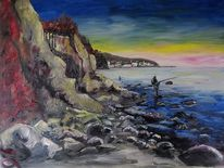 Küste, Angler, Mukran, Malerei
