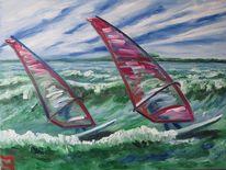 Arbeit, Surfen, Meer, Malerei