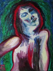 Frau, Mitternacht, Portrait, Malerei