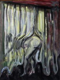 Fenster, Gardine, Frau, Malerei