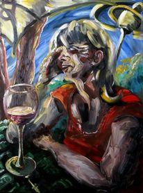 Frau, Glas, Wein, Tischdecke