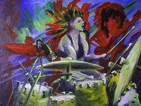 Trommler, Schlagzeug, Musik, Malerei