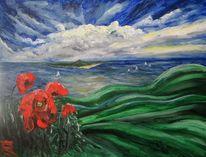 Blüte, Hügel, Rügen, Malerei