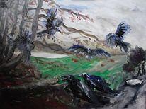 Rabe, Rügen, Vogel, Malerei