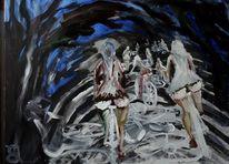Weiß, Fahrrad, Nebel, Malerei