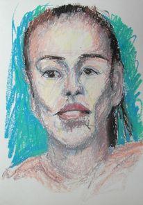 Menschen, Portrait, Kreide, Zeichnungen
