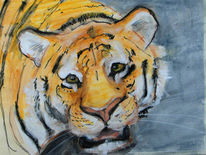 Malerei, Mischtechnik, Tiger