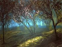Nebel, Acrylmalerei, Wald, Landschaft