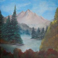 Landschaft, Sommer, Ölmalerei, Natur