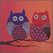 Gemälde, Vogel, Acrylmalerei, Abstrakt