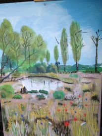 Zeichnung, Landschaft, Pastellmalerei, Zeichnungen