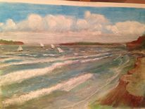 Kreide, Wasser, Landschaft, Zeichnung
