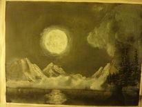 Pastellmalerei, Landschaft, Acrylmalerei, Mond