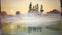 Karton, Nebel, Wasser, Malerei