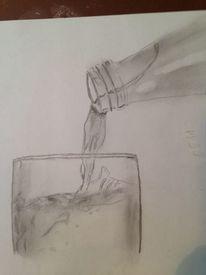 Zeichnung, Sprudelwasser, Bleistiftzeichnung, Wasser