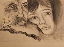 Sohn, Vater, Schwarz weiß, Zeichnung