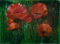 Malerei, Natur, Grün, Rot