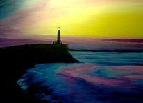 Acrylmalerei, Meer, Landschaft, Leuchtturm