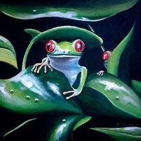 Blätter, Frosch, Malerei