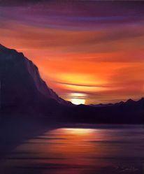 Nochmal überarbeitet, Abendstimmung, Berge, See