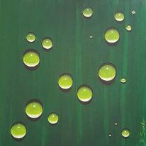 Tropfen, Rund, Grün, Malerei