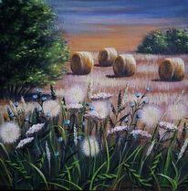 Wiesenblumen, Strohballen, Abendstimmung, Malerei