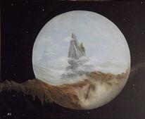 Universum, Wolken, Berge, Malerei