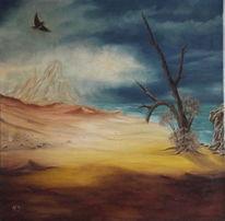 Baum, Wüste, Vogel, Malerei