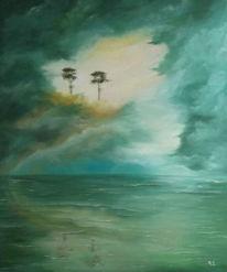 Wolken, Wasser, Baum, Nebel