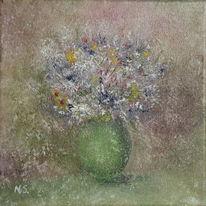 Vase, Blätter, Blumen, Malerei