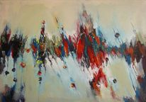 Unwetter, Blau, Rot, Oil on canvas