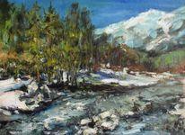 Berge, Fluss, Stein, Malerei
