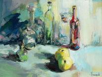 Apfel, Stillleben, Flasche, Glas