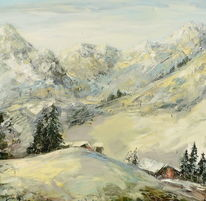 Morgen, Gemälde, Berge, Landschaft