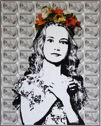 Frau, Malerei, Blumen, Scheinwerfer