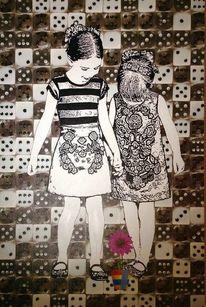 Kind, Kinder blumen würfel, Malerei, Abstrakt