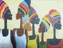 Afrika, Gelb, Blau, Acrylmalerei