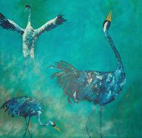 Türkis, Kranich, Vogel, Blau