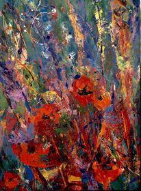 Mohnblumen, Gras, Wiese, Malerei